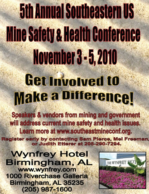 Southeastern US Mine Safety and Health Conference: November 3-5, 2010