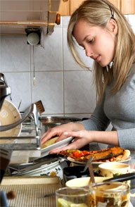 Washing dishes by hand uses more water than running a full load in the dishwasher